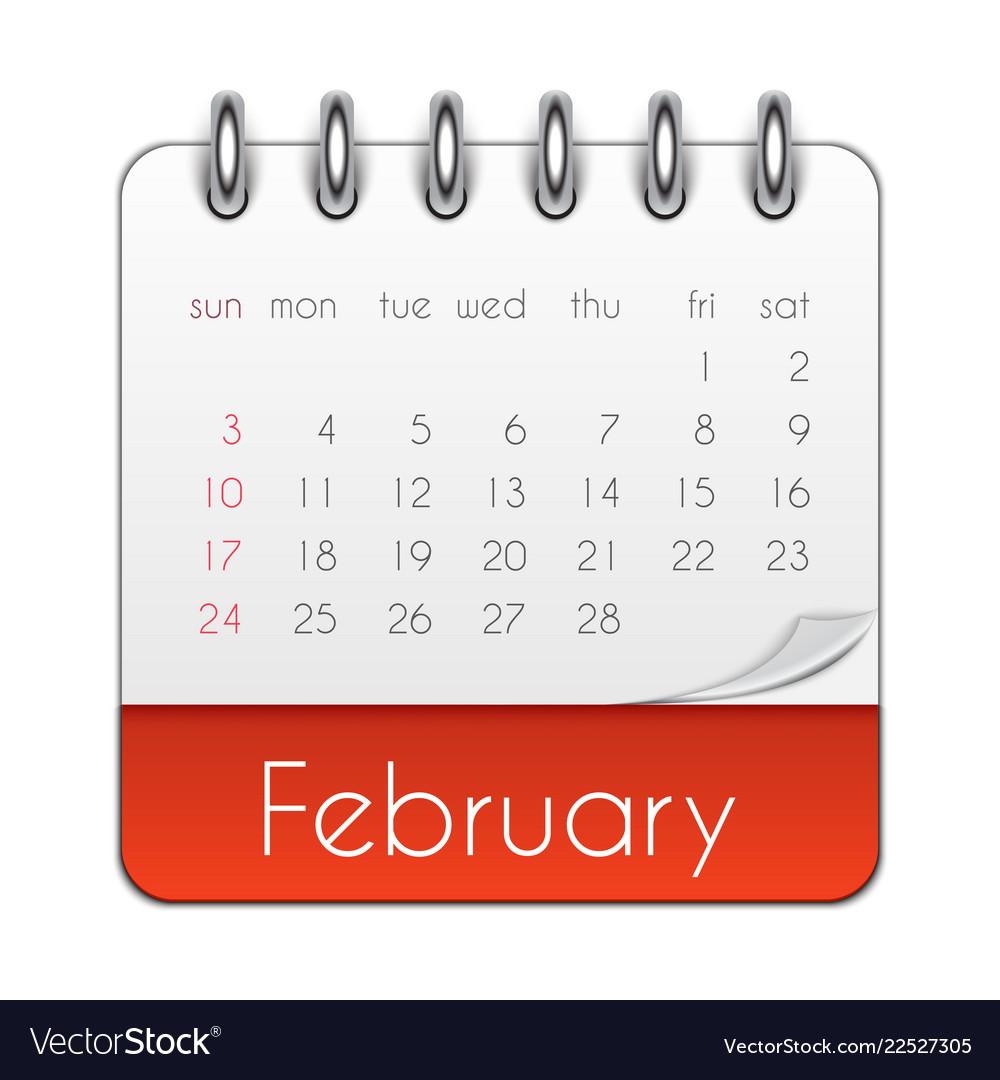 February 2019 Calendar Vector February 2019 calendar leaf template Royalty Free Vector