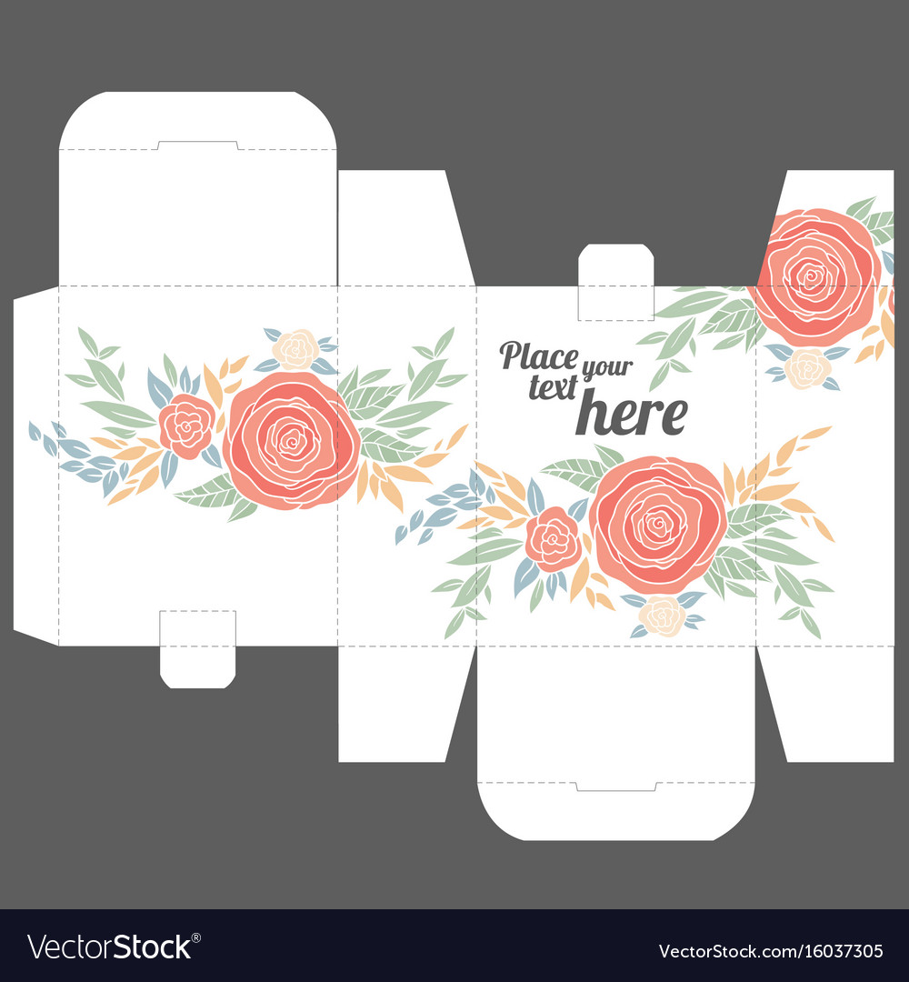 gift box design template with nature pattern vector image