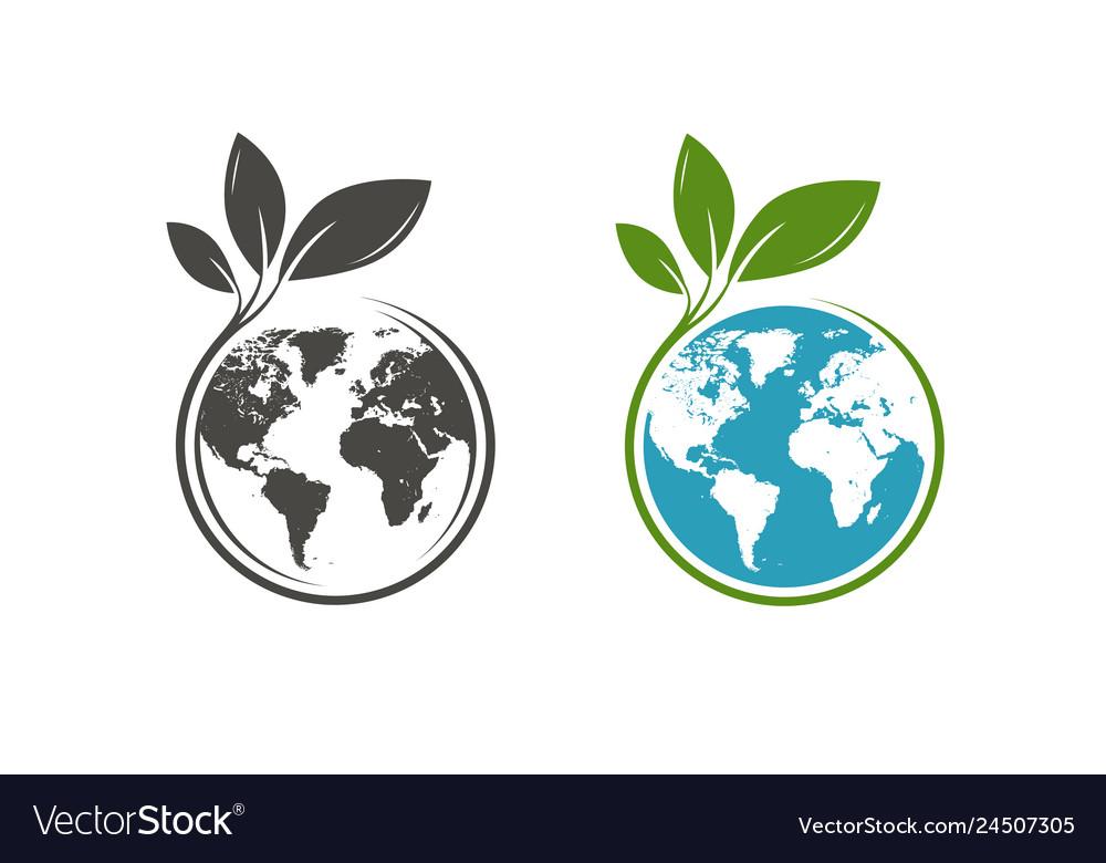 Green leafs and globe logo eco natural organic