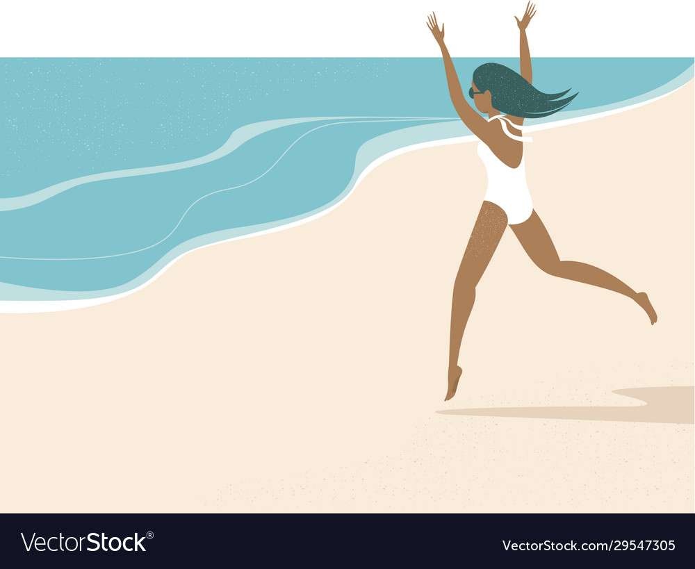 Happy summer girl running to sea
