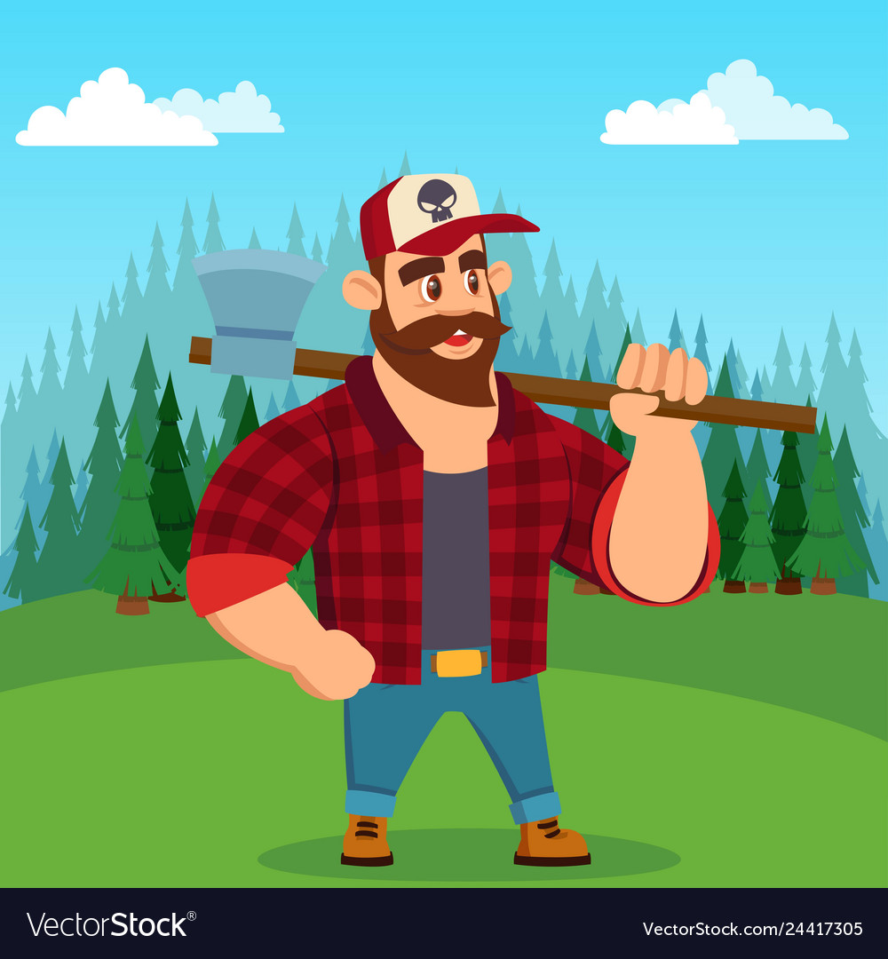 Lumberjack worker with axe in green forest