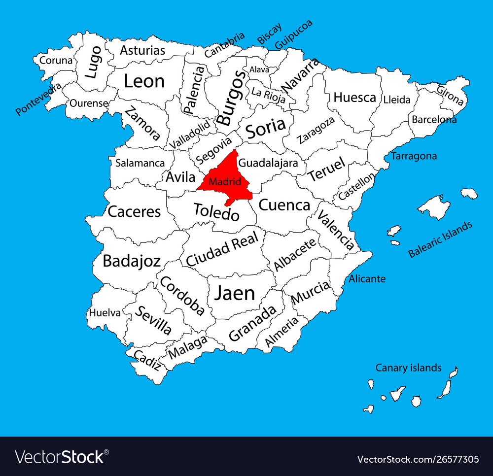 Madrid map spain province administrative map