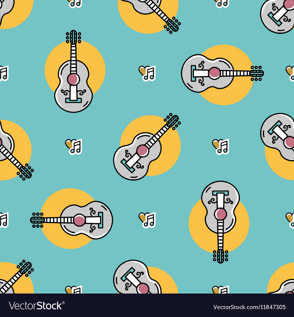 Music seamless pattern Acoustic guitar isolated