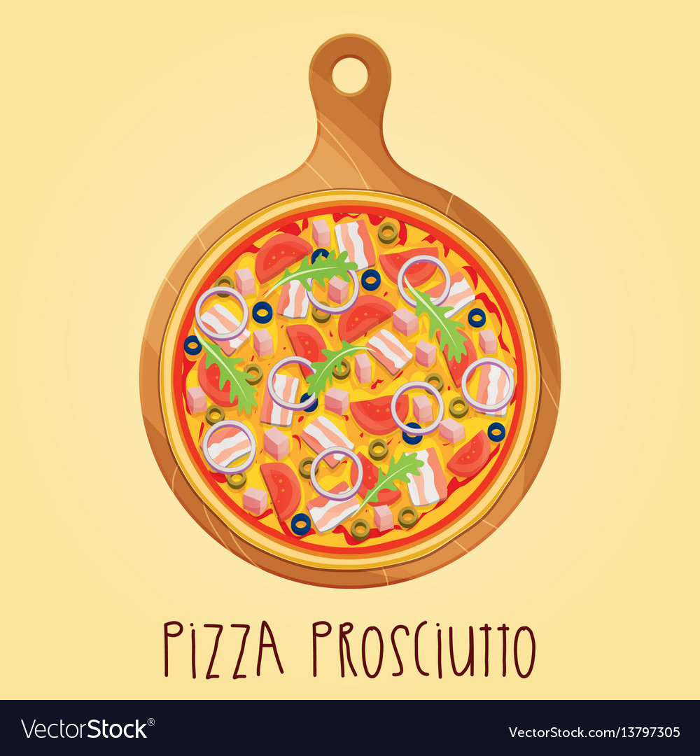 Real pizza prosciutt on wooden board
