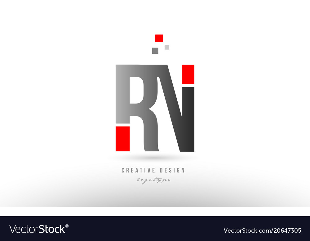 Red grey alphabet letter rn r n logo combination vector image altavistaventures Gallery