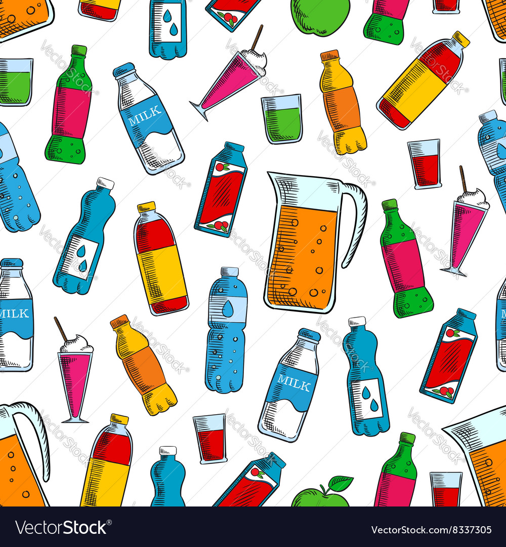 Seamless fruit and dairy drinks background pattern vector image
