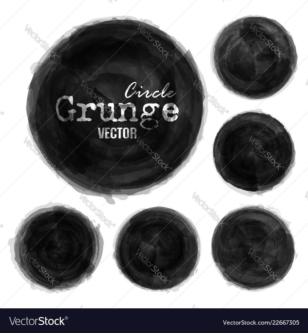 Set grunge ink black color watercolor painting