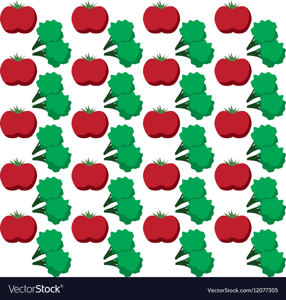Tomato broccoli vegetables design seamless pattern vector image