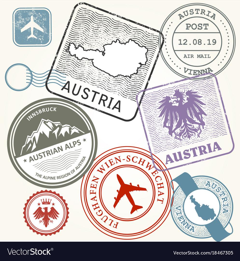 Travel stamps set - austria vienna and alps