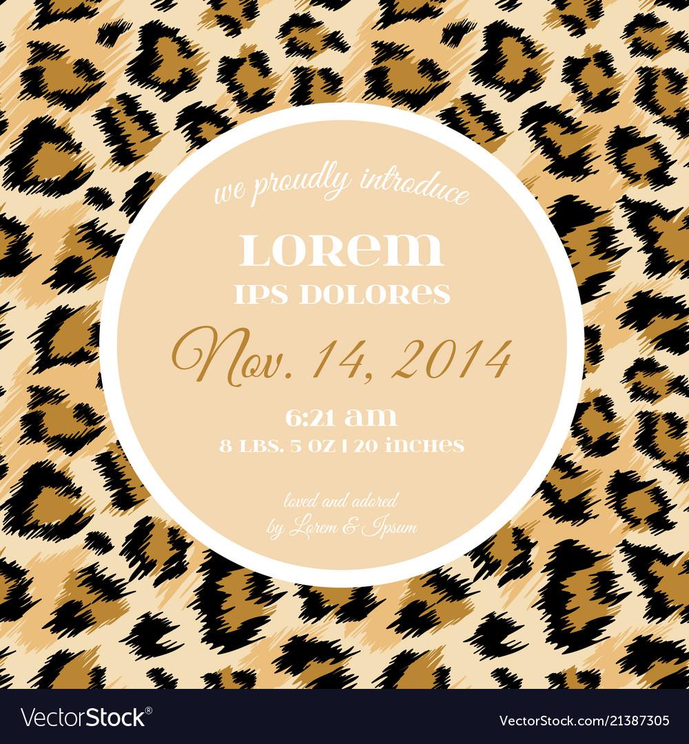 Wedding Invitation Template Fashionable Leopard Vector Image