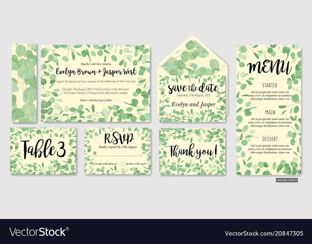 Wedding invite invitation menu envelope rsvp vector image