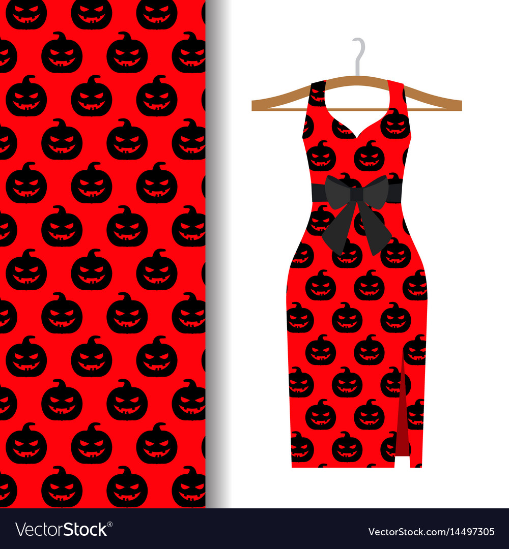 Women dress fabric with halloween pumpkin