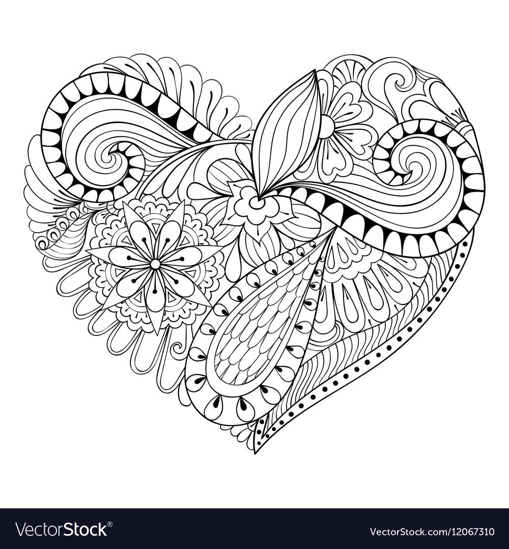 Hearts Zentangle stock vector. Illustration of graphic ... |Zentangle Heart Graphics