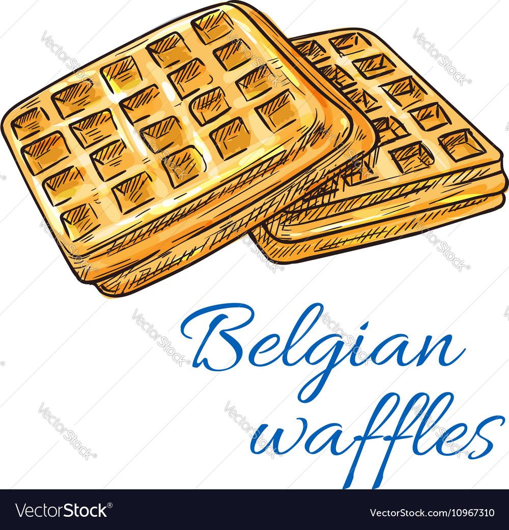 Belgian waffles sketch icon Patisserie emblem vector image