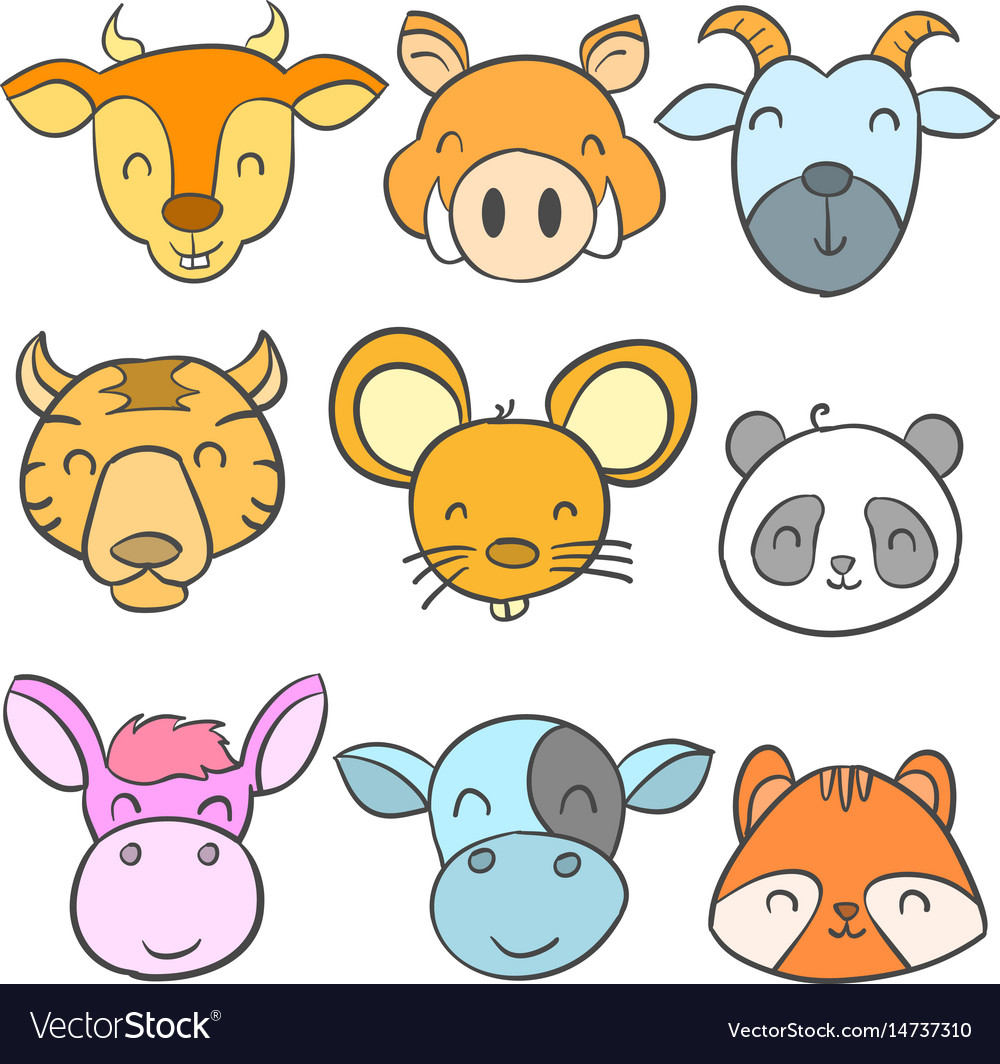Collection cute animal design doodle style