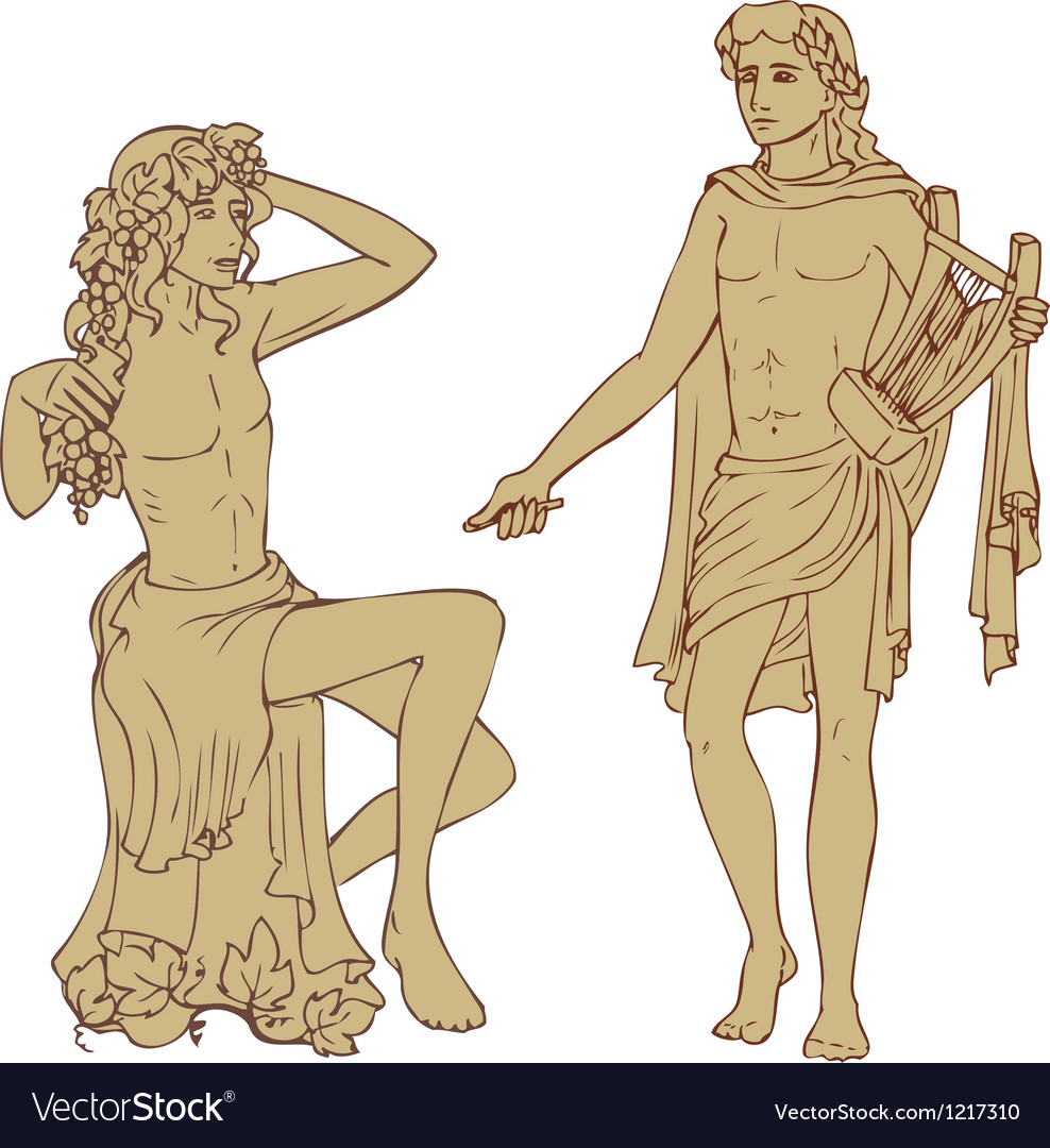 Dionis and Apollo vector image