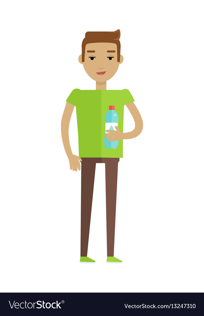 Drinking clean water flat style concept vector image