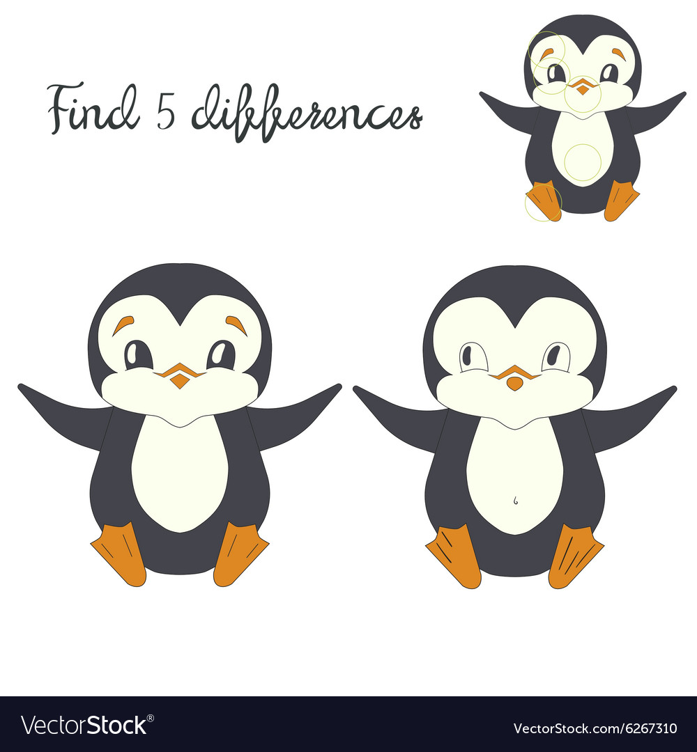 Find differences kids layout for game penguin