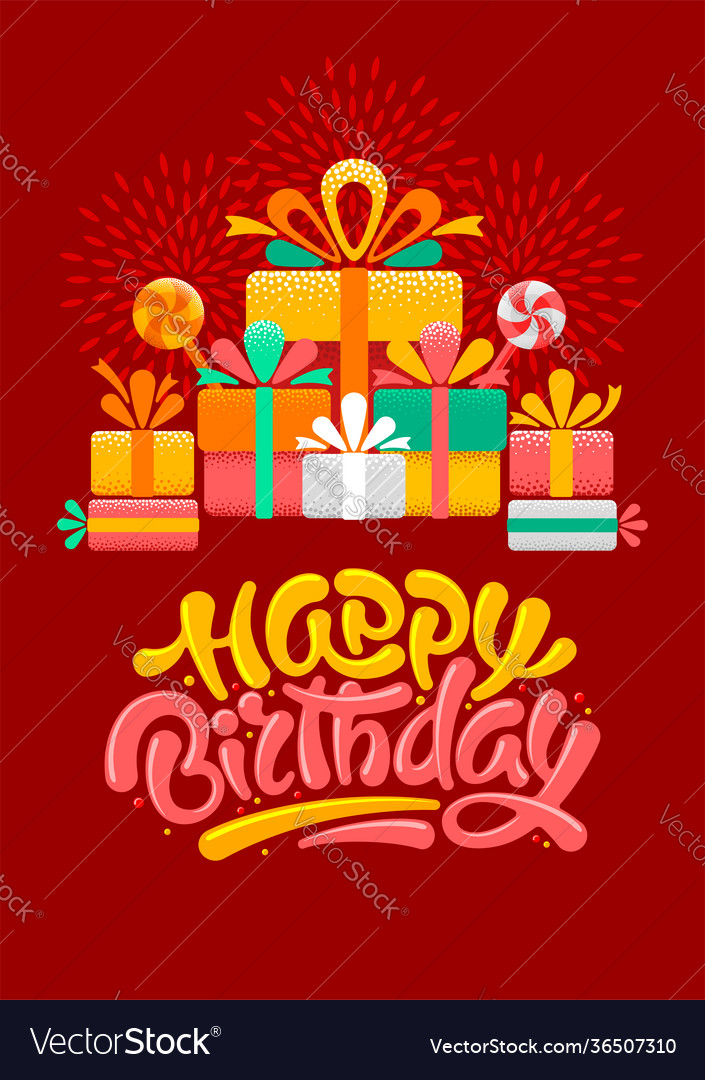 Happy birthday greeting card template with brush