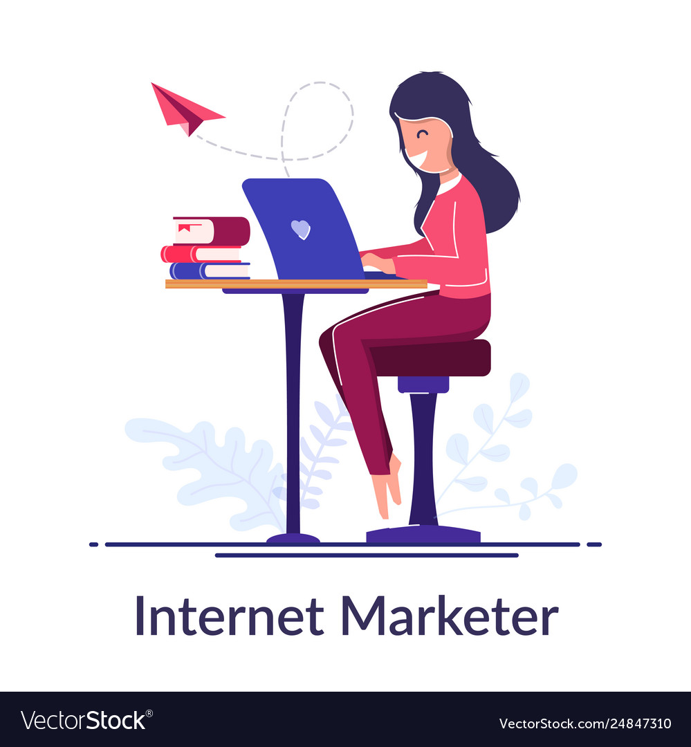 Internet marketer concept work via internet