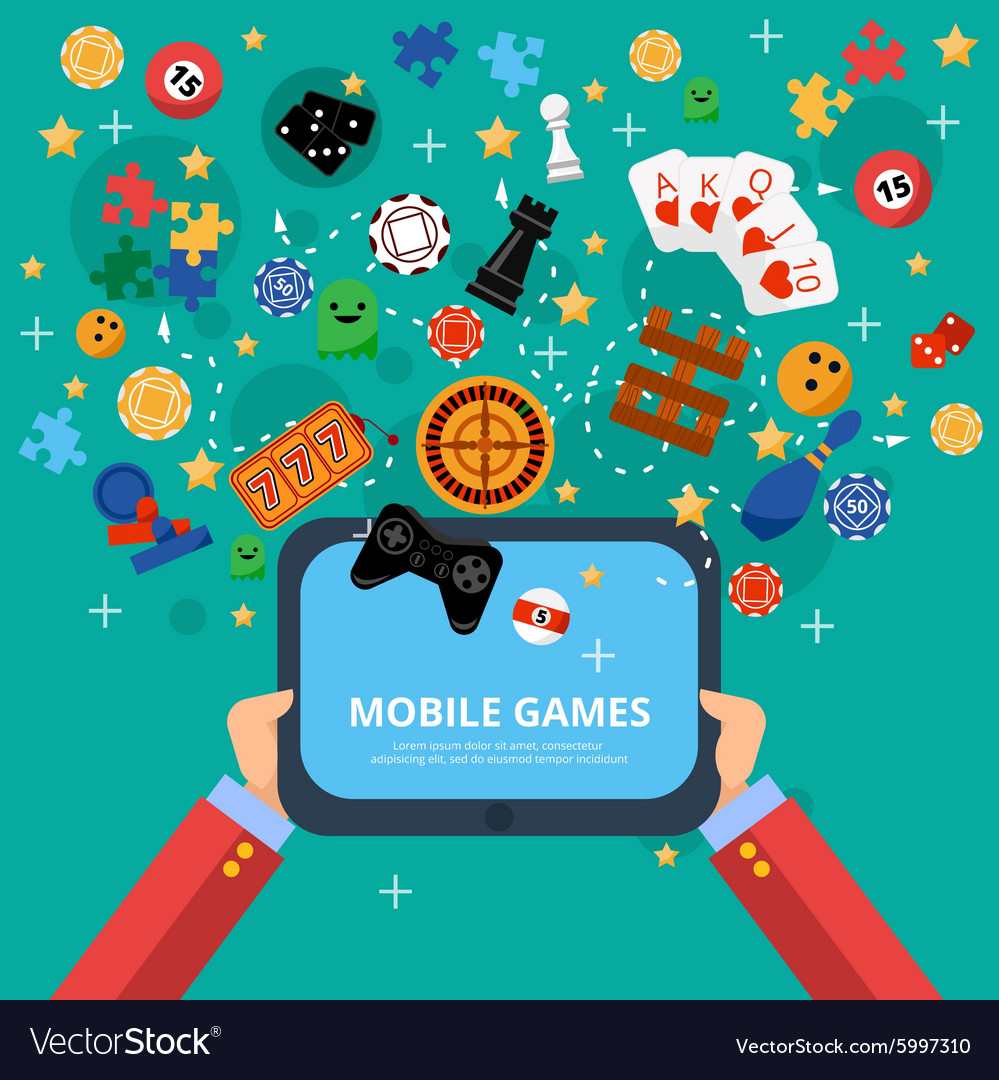 Mobile games entertainment poster vector image