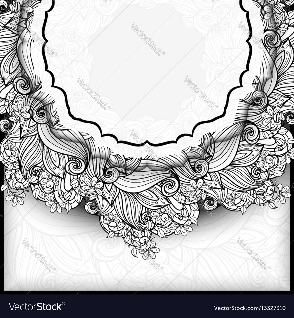 Monochrome floral template with place for text