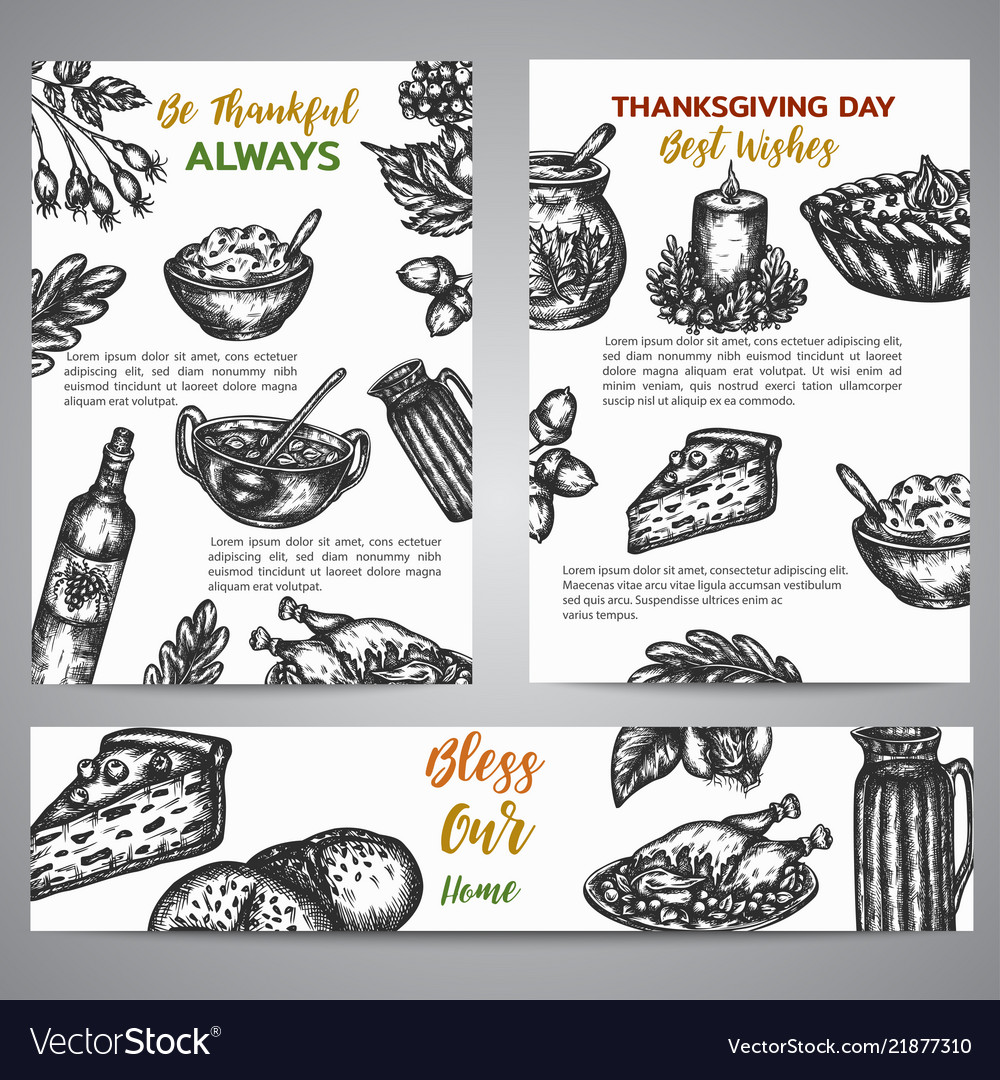 Thanksgiving day brochure collection hand drawn