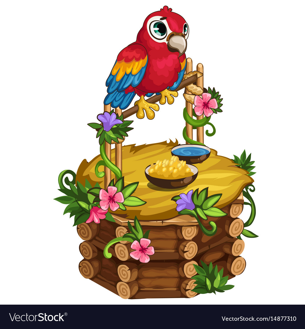 Tropical parrot sits on a beautiful wooden perch