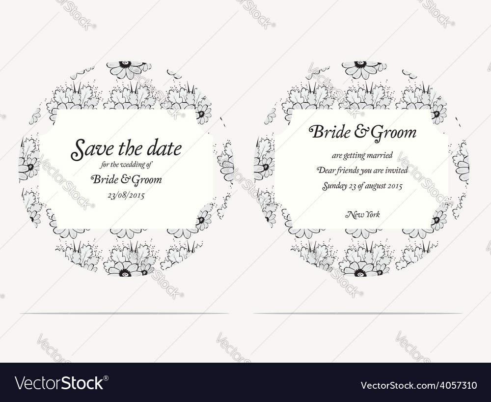 Wedding invitation cards with grey flowers