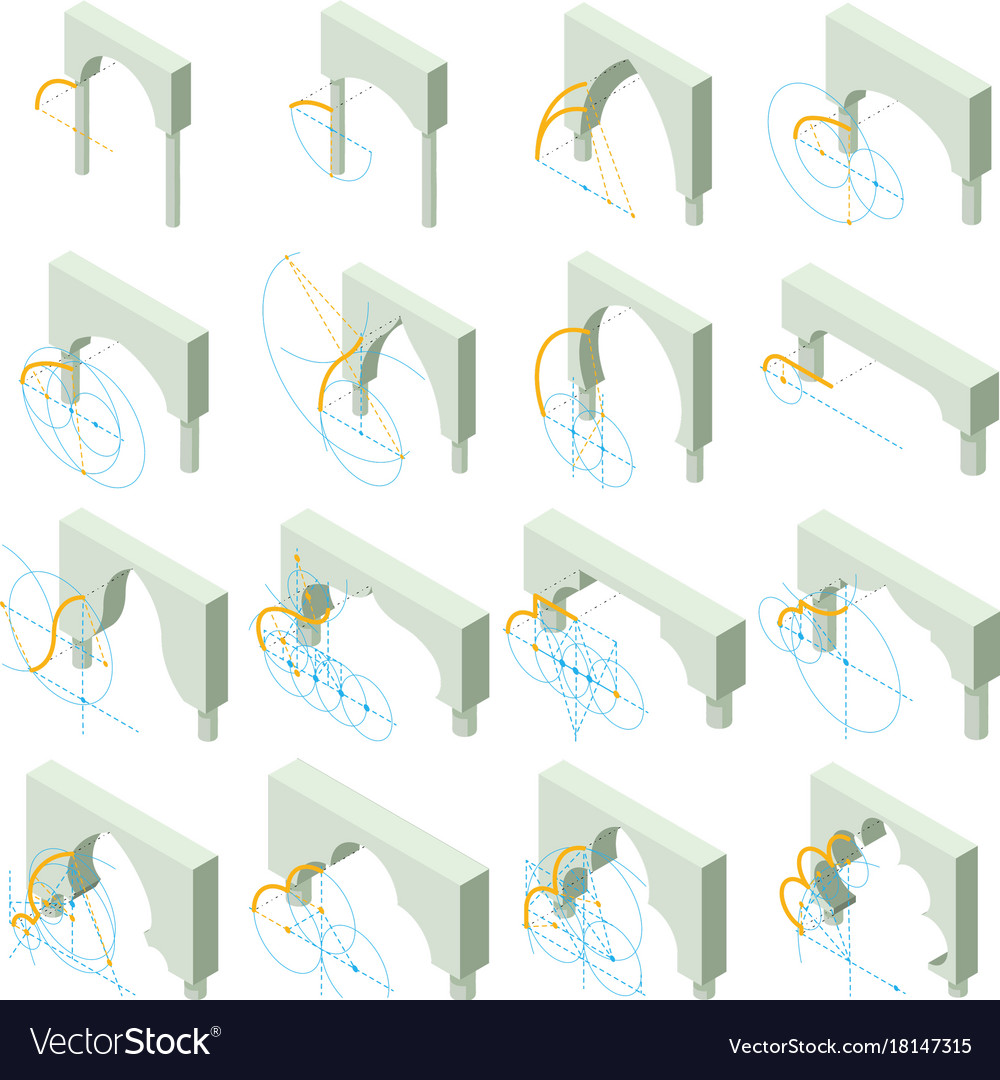 Arch types icons set isometric style