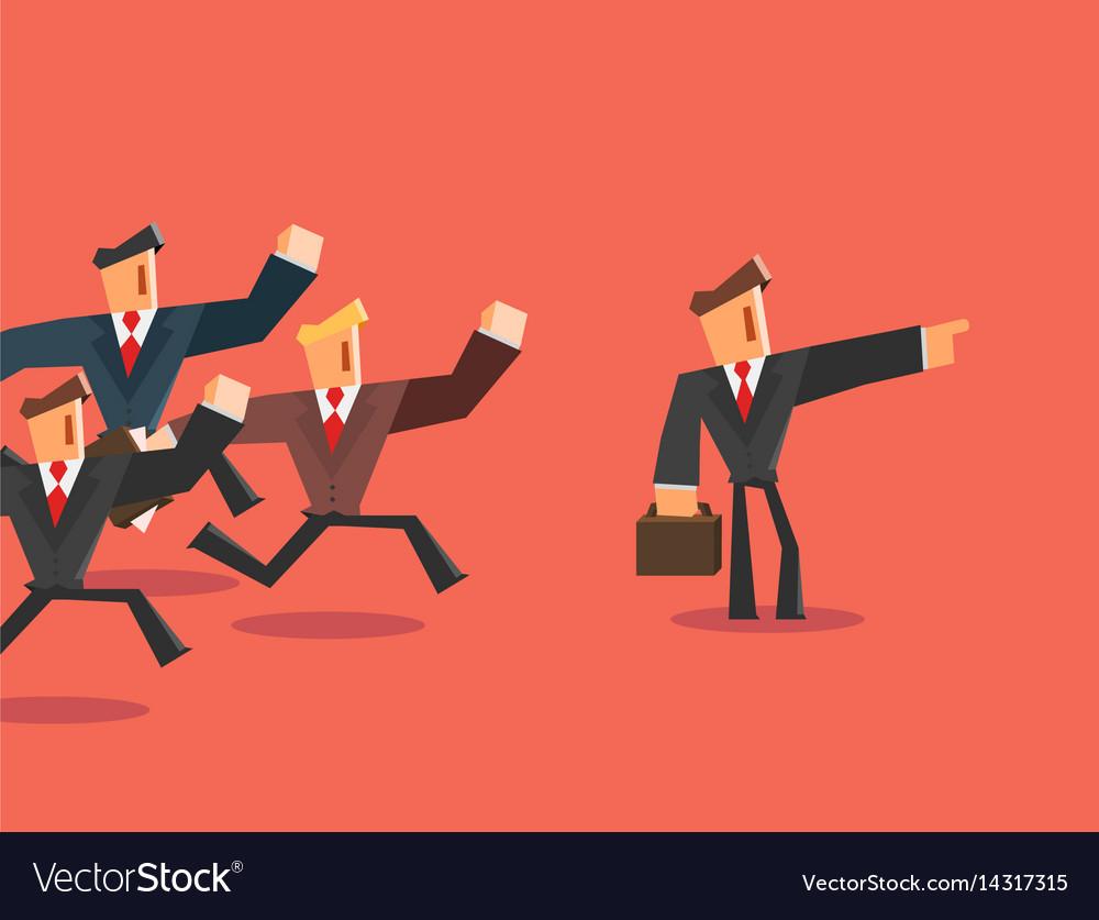 Businessman indicates direction for team leader vector image