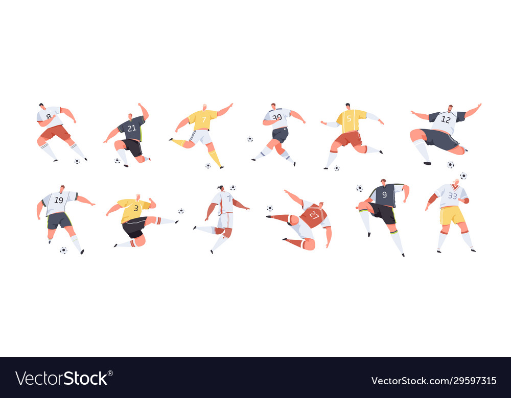 Cartoon male soccer players set graphic
