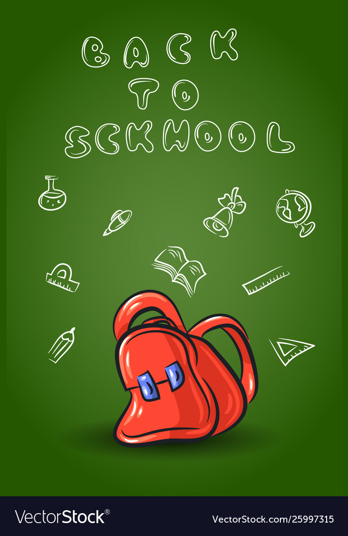 Doodle school set isolated on white background