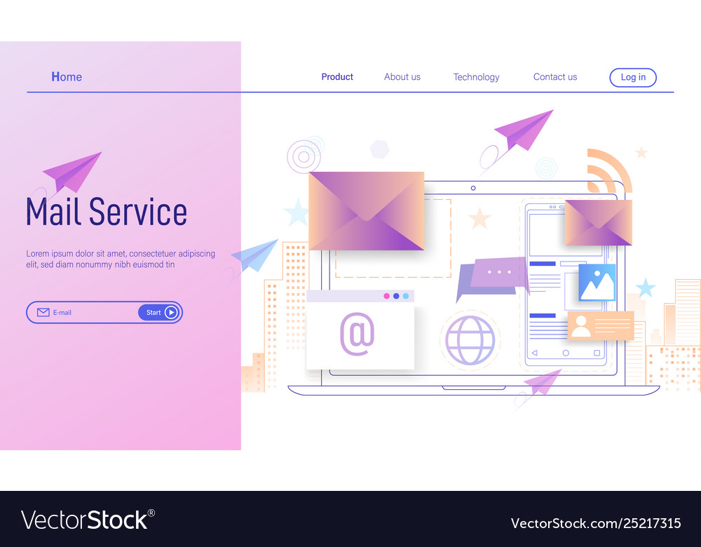 Electronic mail or email services modern flat