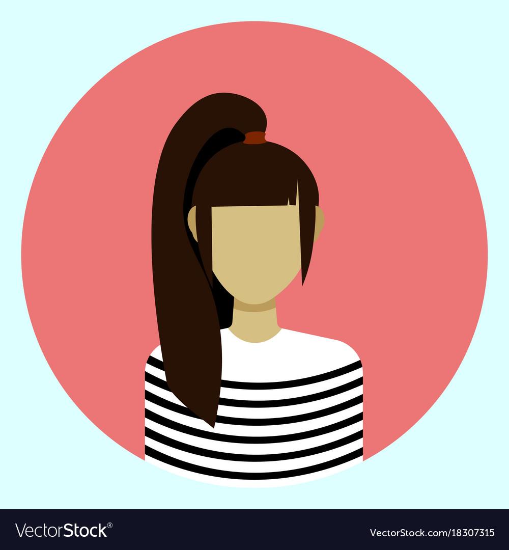 female avatar profile icon round woman face vector image