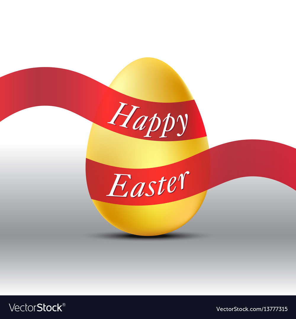 Happy easter golden egg with red ribbon