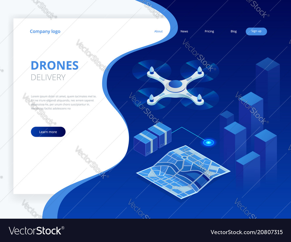 Isometric drone fast delivery of goods in the city
