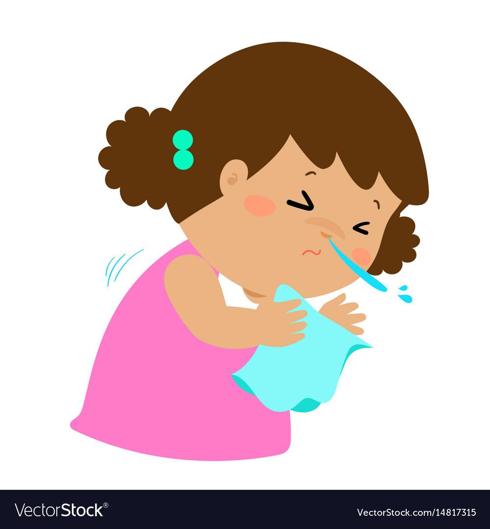 Little girl sneezing cartoon