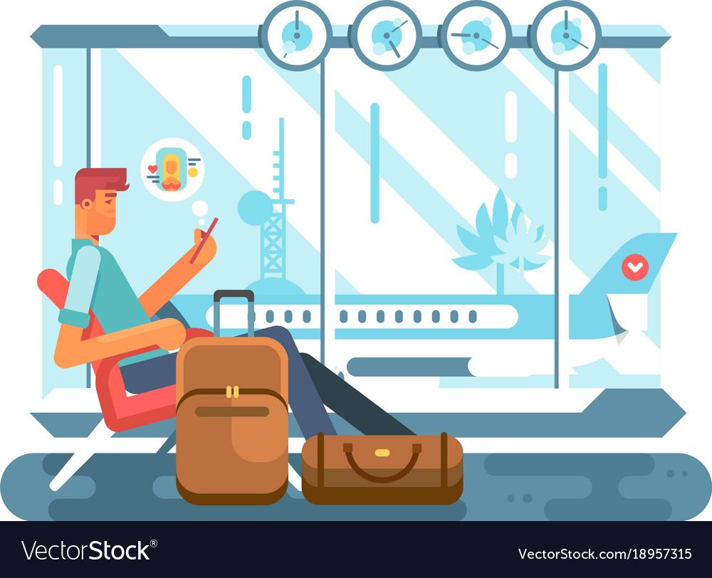 Passenger waiting at airport of departure