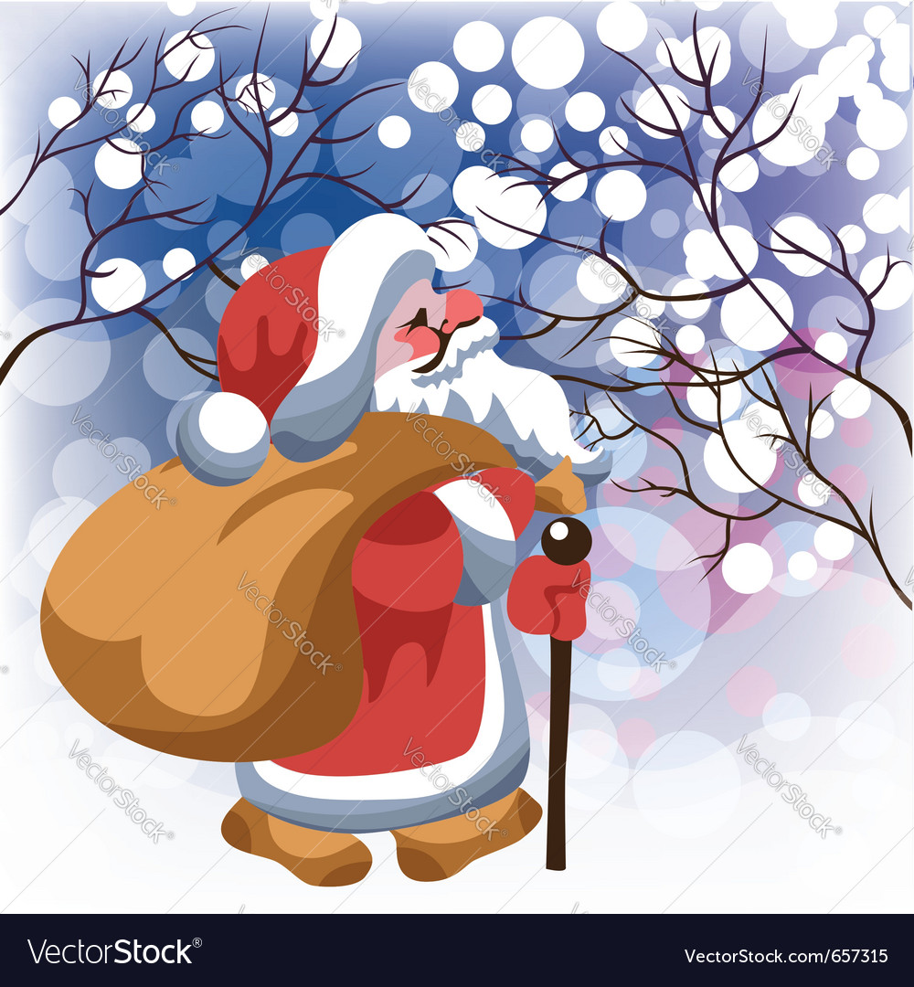 Santa claus with gifts in winter forest
