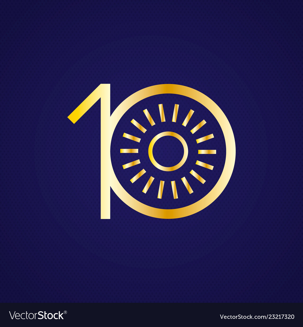 10th anniversary years with a circle sun in