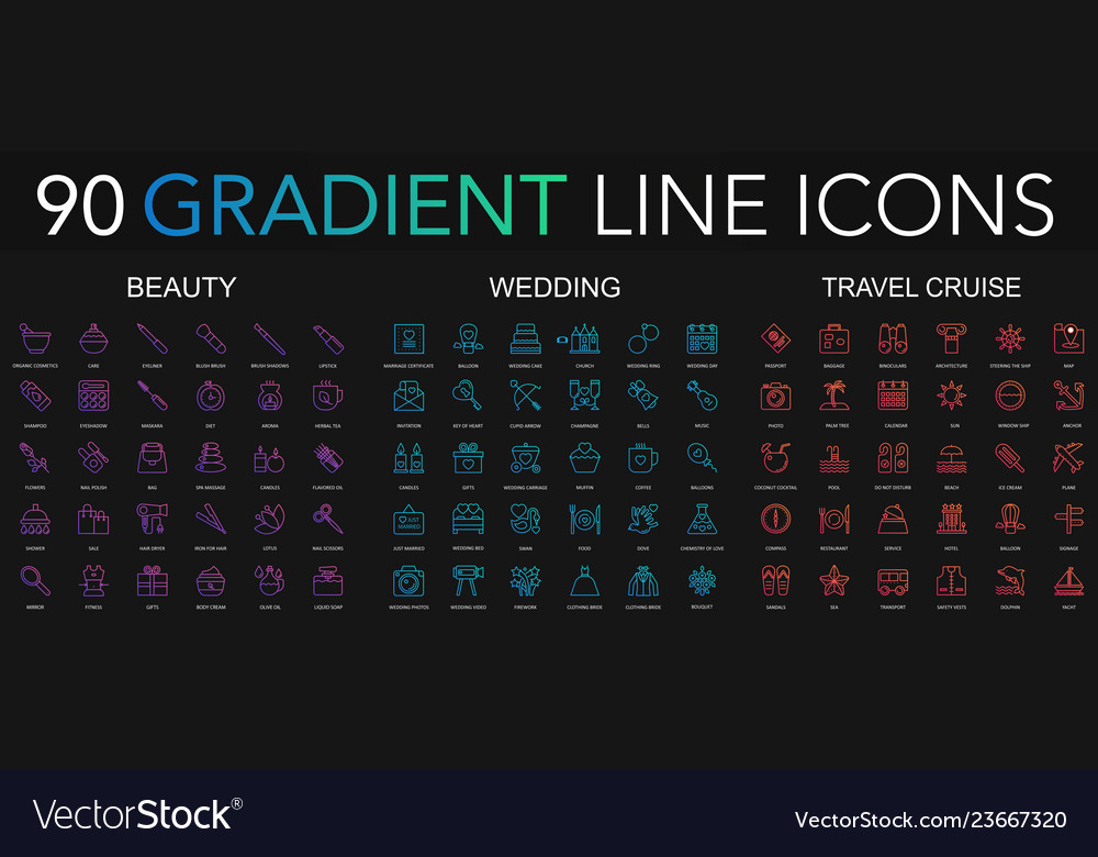 90 trendy gradient style thin line icons set of vector
