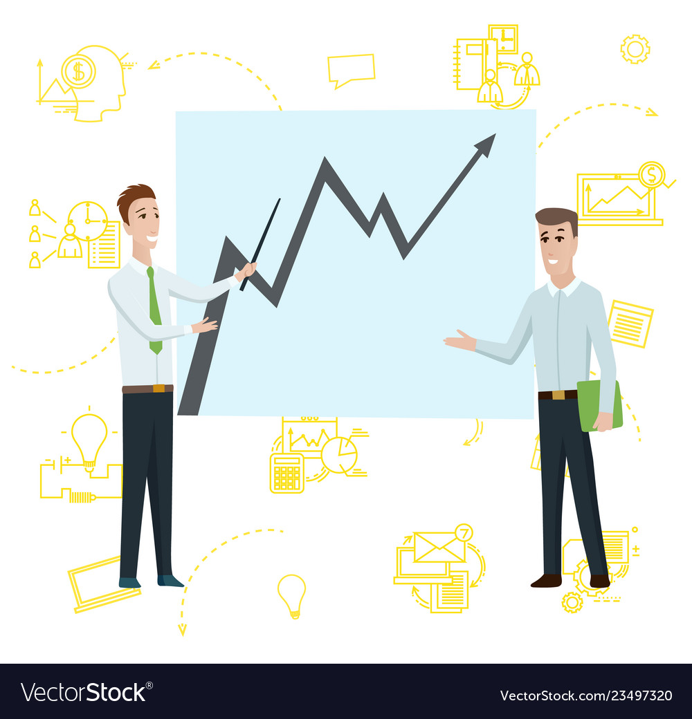 Business man standing pointing to diagram chart on