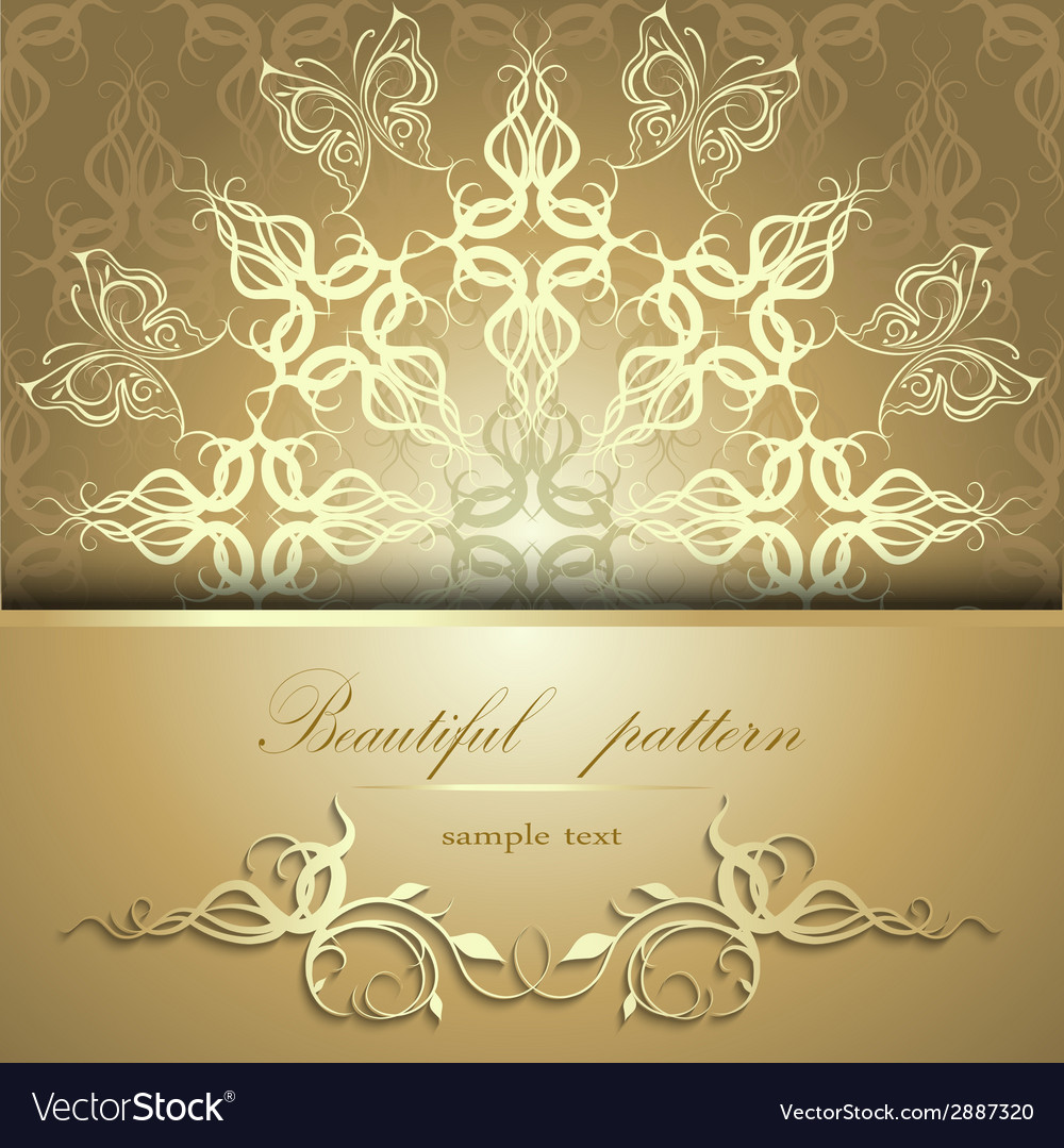 Calligraphic pattern with butterflies