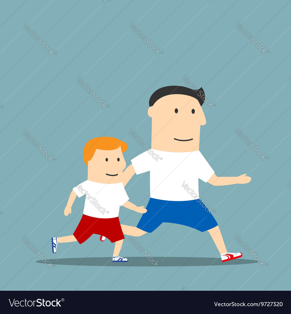 Cartoon father and son are jogging together