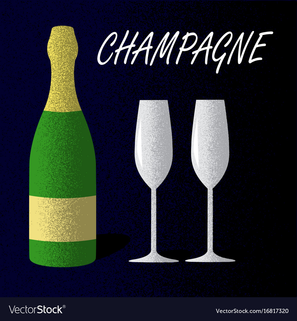 Champagne bottle with glasses on dark blue