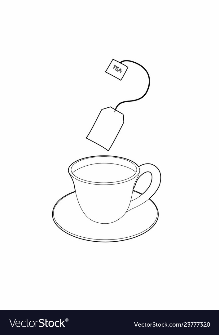 Drawing A Cup Tea Royalty Free Vector Image Vectorstock