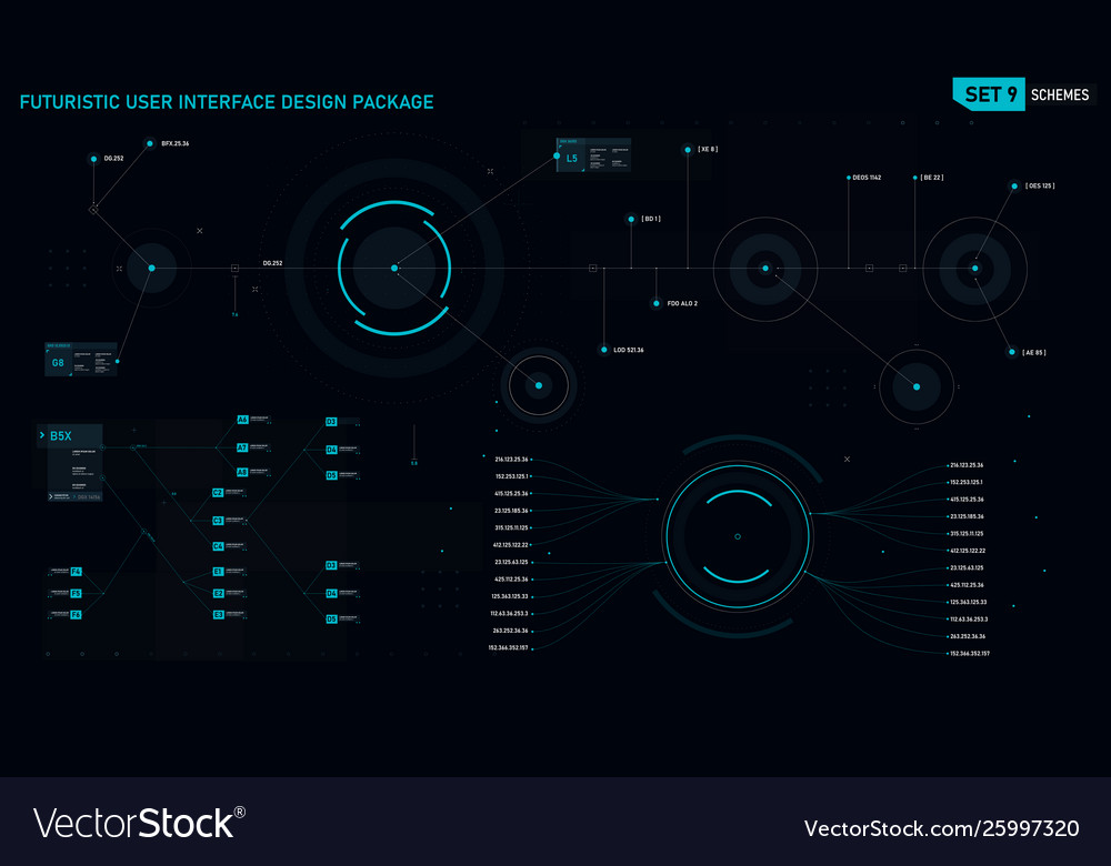 Futuristic user interface design element set 09