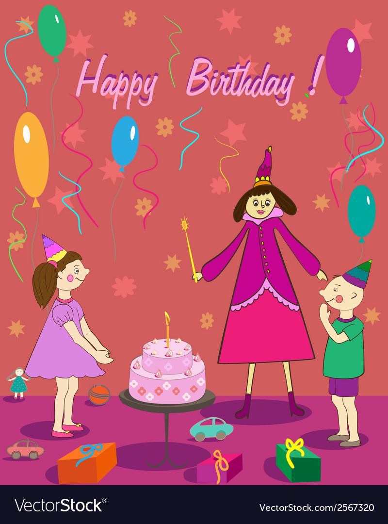Happy Birthday Gift Girl Boy Cake And Fairy Vector Image