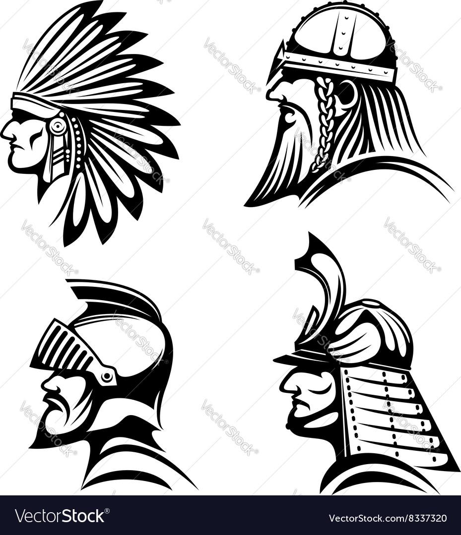 Knight viking samurai and native indian icons